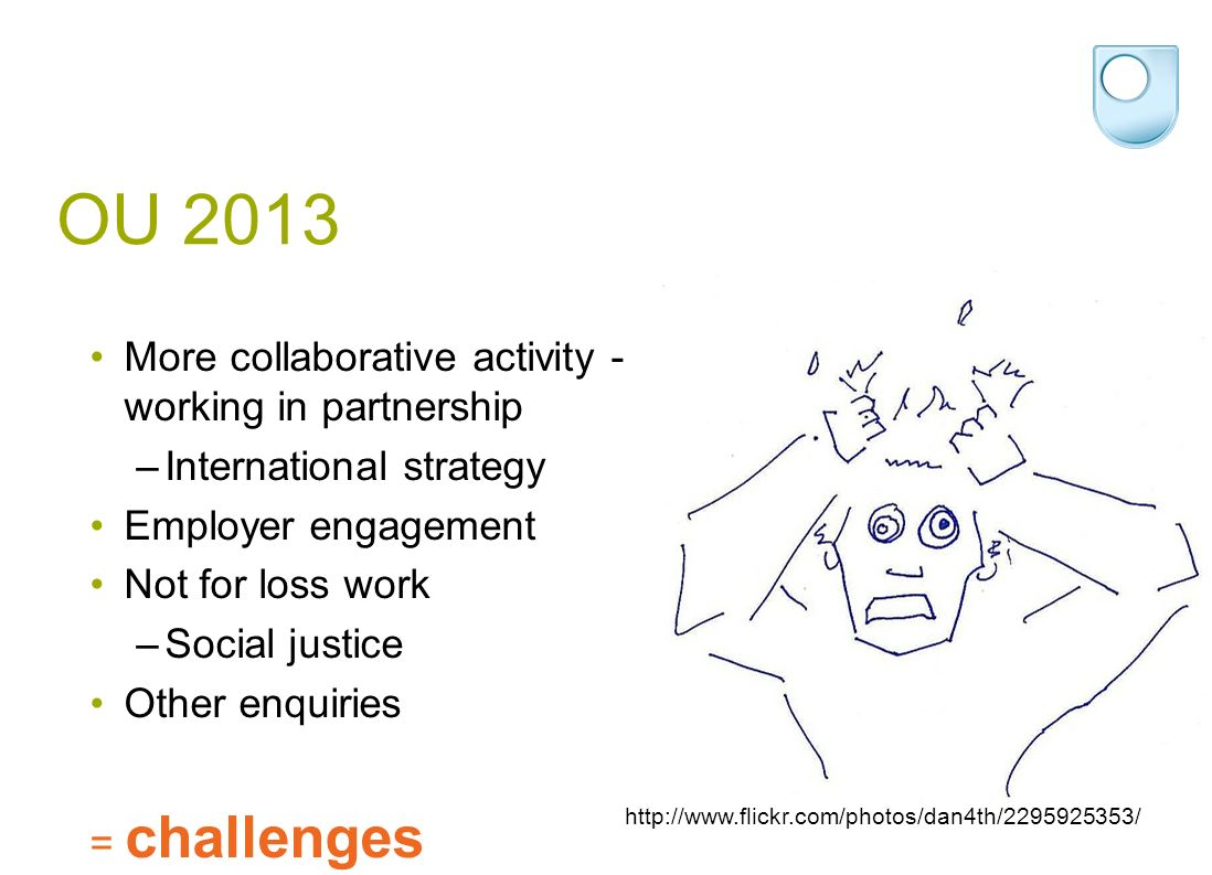 OU 2013 More collaborative activity - working in partnership –International strategy Employer engagement Not for loss work –Social justice Other enquiries = challenges http://www.flickr.com/photos/dan4th/2295925353/