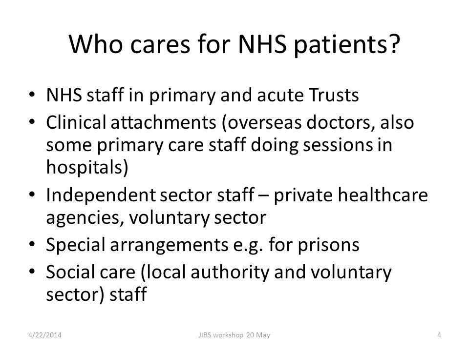 Who cares for NHS patients.
