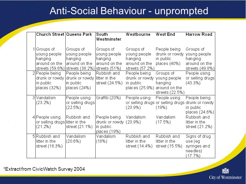 Anti-Social Behaviour - unprompted *Extract from CivicWatch Survey 2004