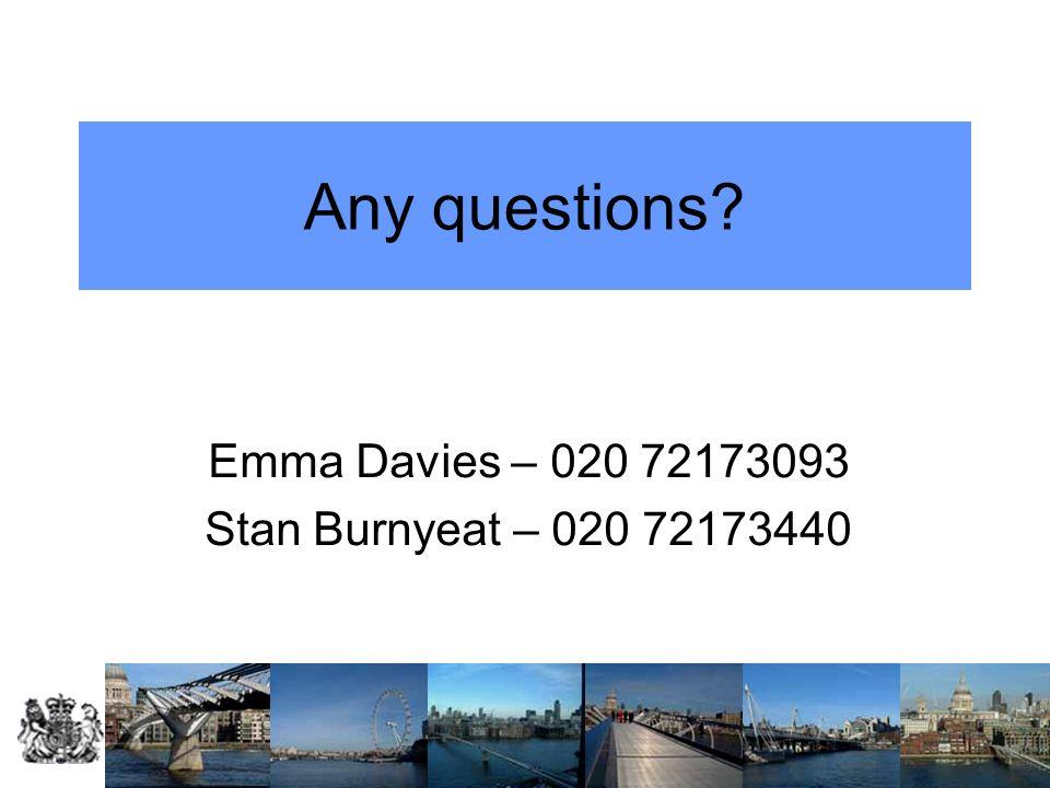Any questions? Emma Davies – 020 72173093 Stan Burnyeat – 020 72173440