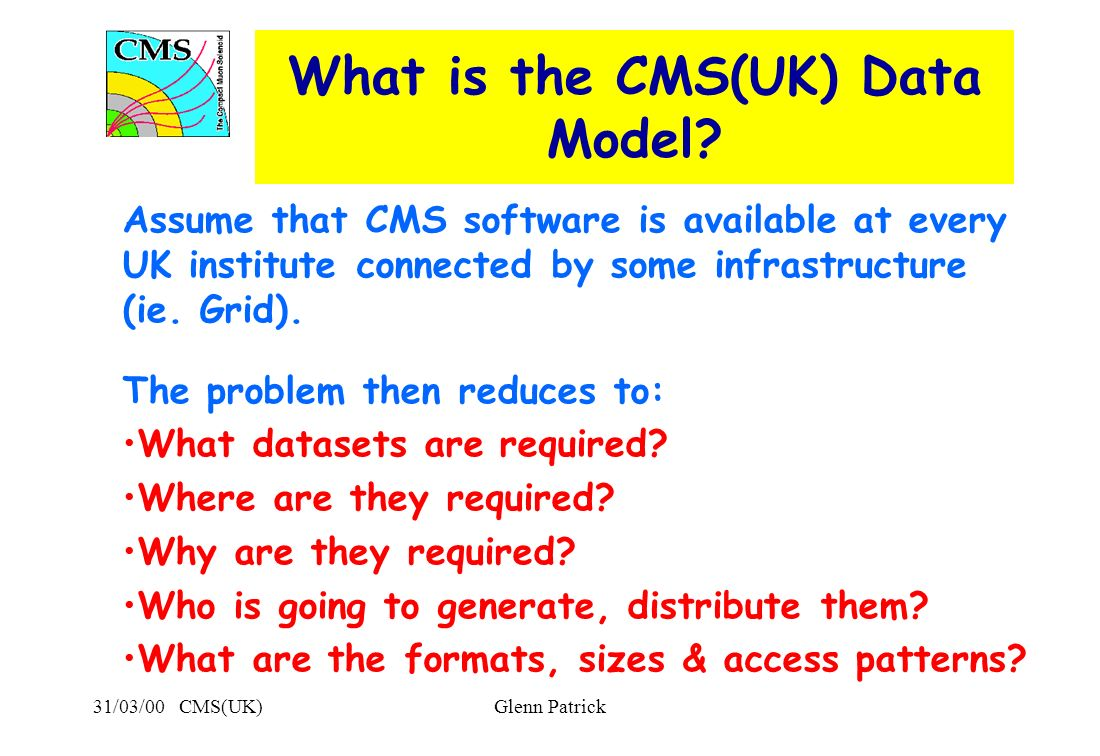 31/03/00 CMS(UK)Glenn Patrick What is the CMS(UK) Data Model.