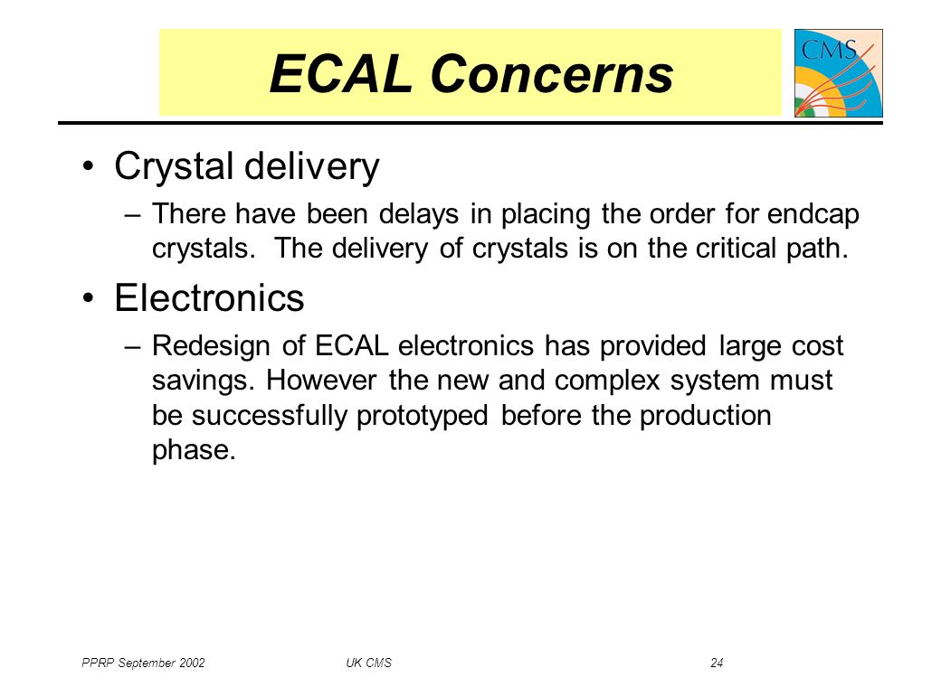 PPRP September 2002 UK CMS 24 Crystal delivery –There have been delays in placing the order for endcap crystals.