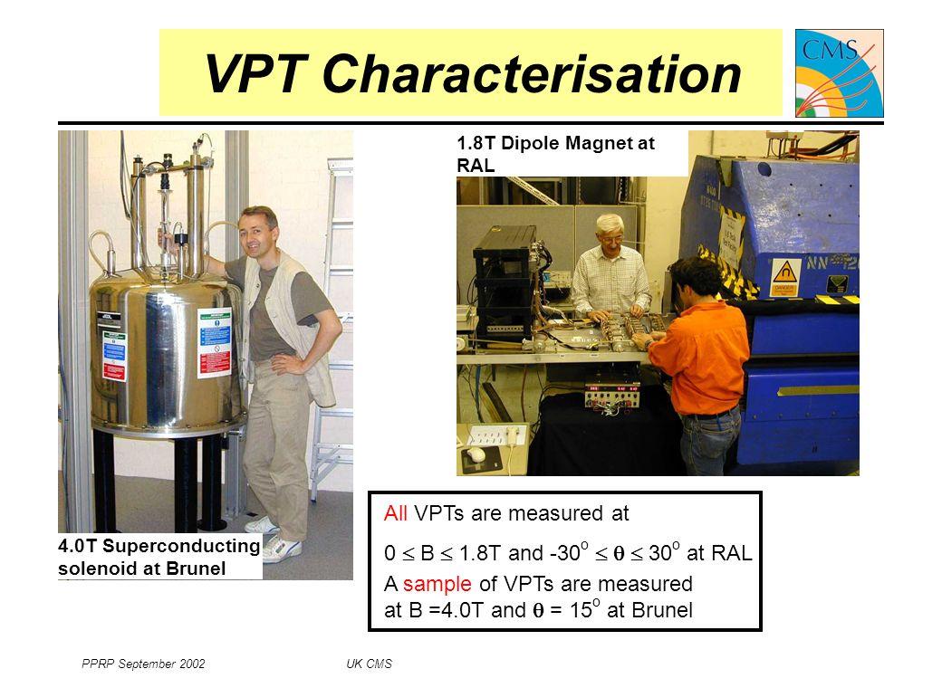 PPRP September 2002 UK CMS 8 VPT Characteristics Response vs.