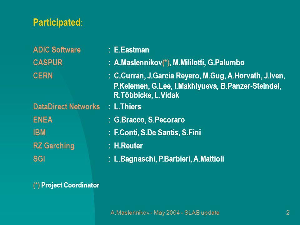 A.Maslennikov - May 2004 - SLAB update2 Participated : ADIC Software: E.Eastman CASPUR: A.Maslennikov(*), M.Mililotti, G.Palumbo CERN : C.Curran, J.Garcia Reyero, M.Gug, A.Horvath, J.Iven, P.Kelemen, G.Lee, I.Makhlyueva, B.Panzer-Steindel, R.Többicke, L.Vidak DataDirect Networks : L.Thiers ENEA : G.Bracco, S.Pecoraro IBM : F.Conti, S.De Santis, S.Fini RZ Garching : H.Reuter SGI : L.Bagnaschi, P.Barbieri, A.Mattioli (*) Project Coordinator