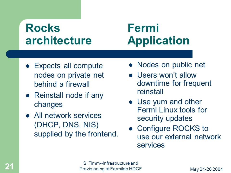 May 24-26 2004 S. Timm--Infrastructure and Provisioning at Fermilab HDCF 21 Rocks Fermi architecture Application Expects all compute nodes on private