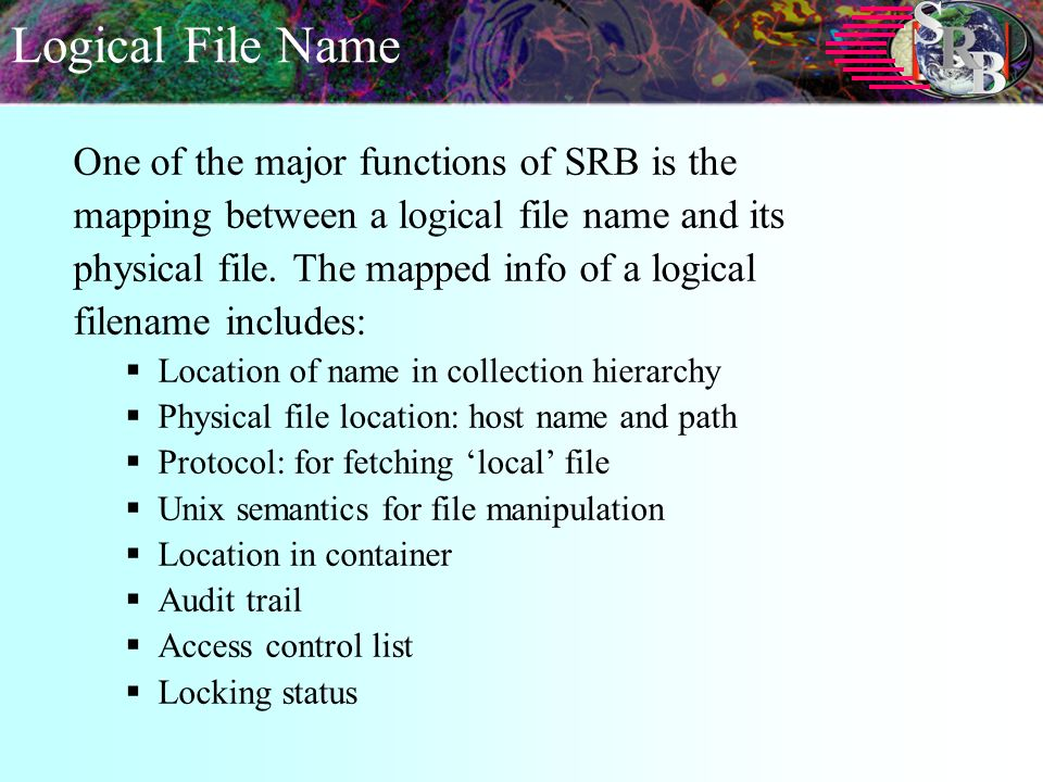 Logical File Name One of the major functions of SRB is the mapping between a logical file name and its physical file.