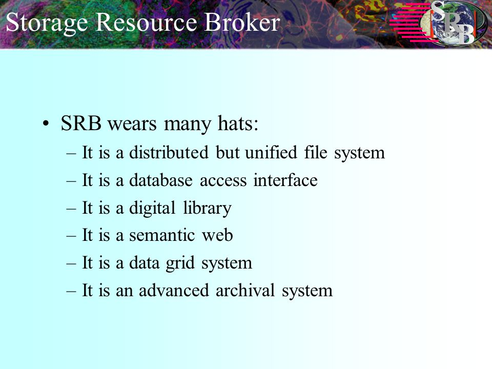 Storage Resource Broker SRB wears many hats: –It is a distributed but unified file system –It is a database access interface –It is a digital library –It is a semantic web –It is a data grid system –It is an advanced archival system
