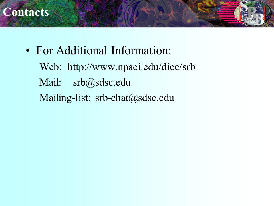 Contacts For Additional Information: Web: http://www.npaci.edu/dice/srb Mail: srb@sdsc.edu Mailing-list: srb-chat@sdsc.edu