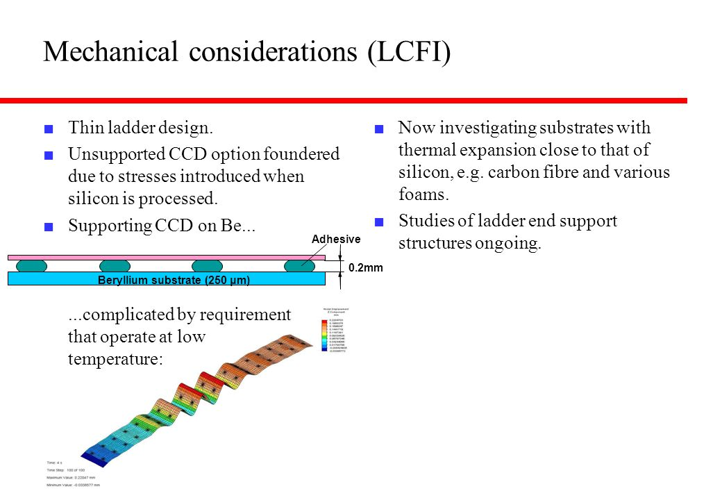 Mechanical considerations (LCFI) Thin ladder design. Unsupported CCD option foundered due to stresses introduced when silicon is processed. Supporting