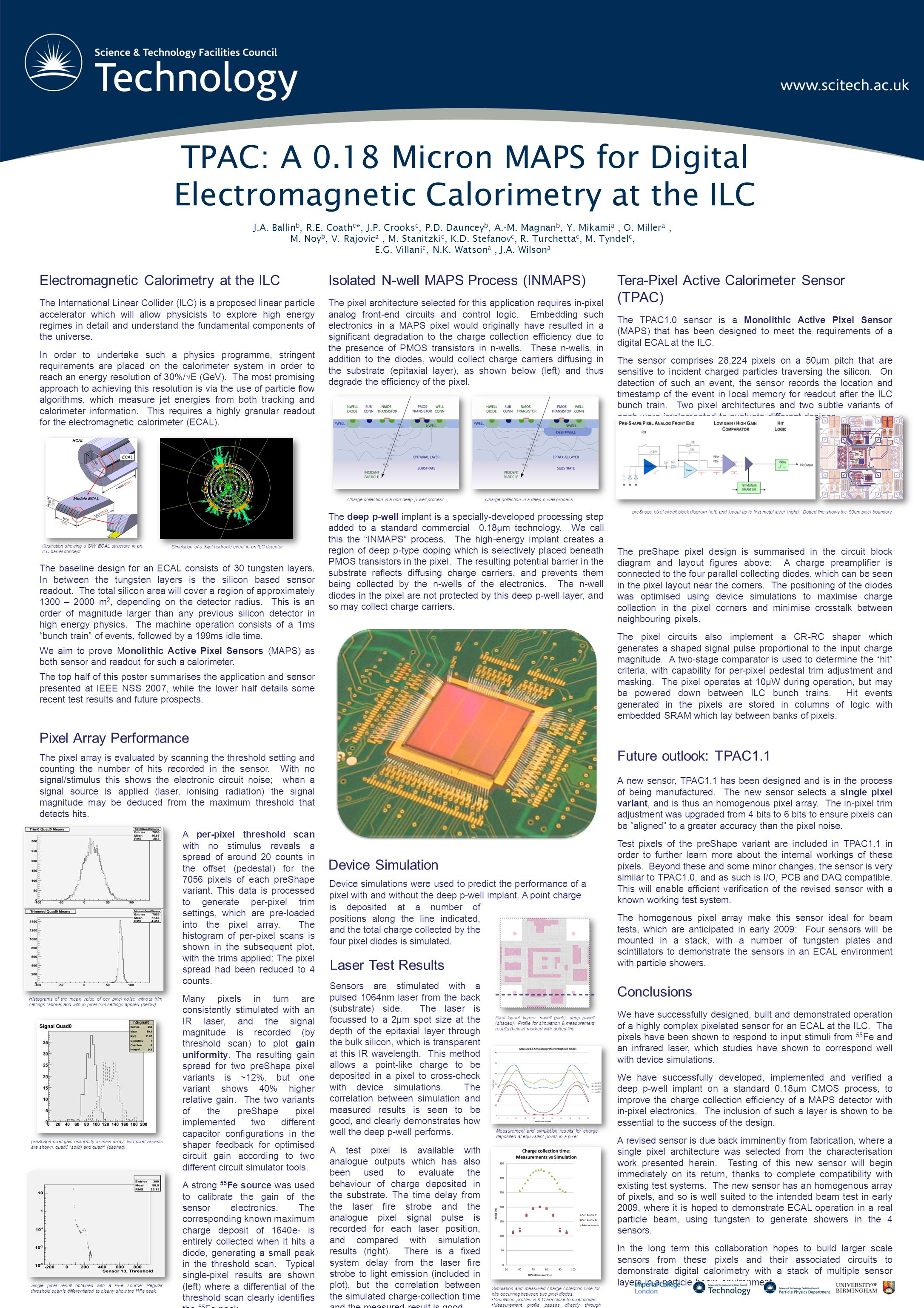 TPAC: A 0.18 Micron MAPS for Digital Electromagnetic Calorimetry at the ILC J.A. Ballin b, R.E. Coath c *, J.P. Crooks c, P.D. Dauncey b, A.-M. Magnan
