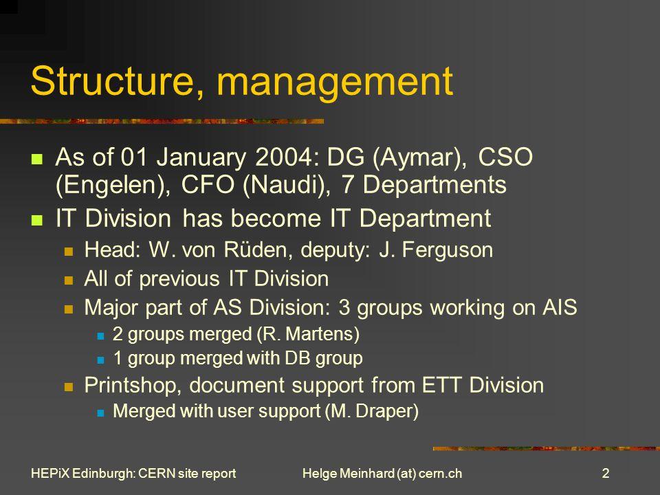 13 Helge Meinhard (at) cern.chHEPiX Edinburgh: CERN site report Grid Deployment LCG status Oliver Keebles talk LCG user registration, VO management Maria Dimous talk