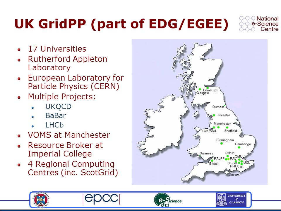 UK GridPP (part of EDG/EGEE) 17 Universities Rutherford Appleton Laboratory European Laboratory for Particle Physics (CERN) Multiple Projects: UKQCD BaBar LHCb VOMS at Manchester Resource Broker at Imperial College 4 Regional Computing Centres (inc.