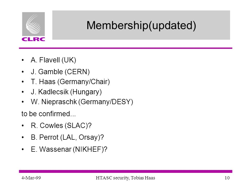 4-Mar-99HTASC security, Tobias Haas10 Membership(updated) A.