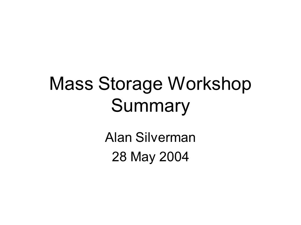 Mass Storage Workshop Summary Alan Silverman 28 May 2004