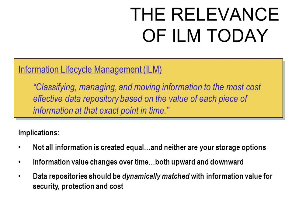 THE RELEVANCE OF ILM TODAY Information Lifecycle Management (ILM) Classifying, managing, and moving information to the most cost effective data repository based on the value of each piece of information at that exact point in time.