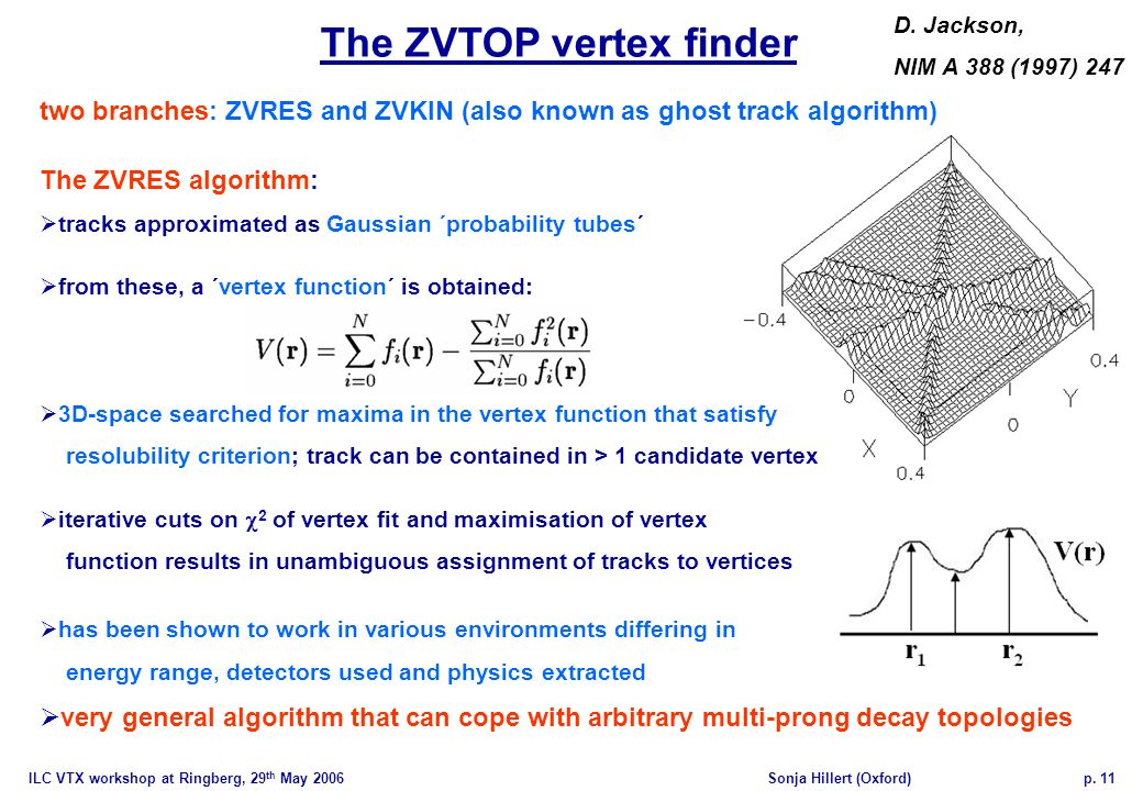ILC VTX workshop at Ringberg, 29 th May 2006Sonja Hillert (Oxford)p. 11 The ZVTOP vertex finder two branches: ZVRES and ZVKIN (also known as ghost tra