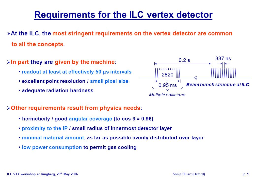 ILC VTX workshop at Ringberg, 29 th May 2006Sonja Hillert (Oxford)p. 1 At the ILC, the most stringent requirements on the vertex detector are common t