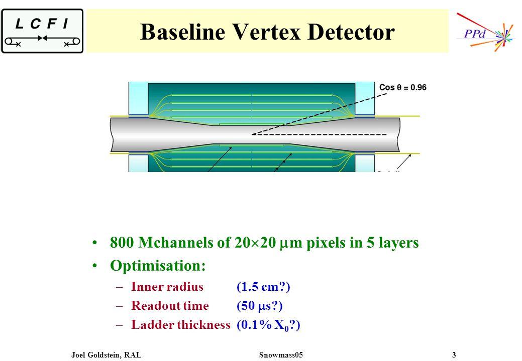 Joel Goldstein, RALSnowmass05 3 Baseline Vertex Detector 800 Mchannels of 20 20 m pixels in 5 layers Optimisation: –Inner radius (1.5 cm ) –Readout time (50 s ) –Ladder thickness (0.1% X 0 )