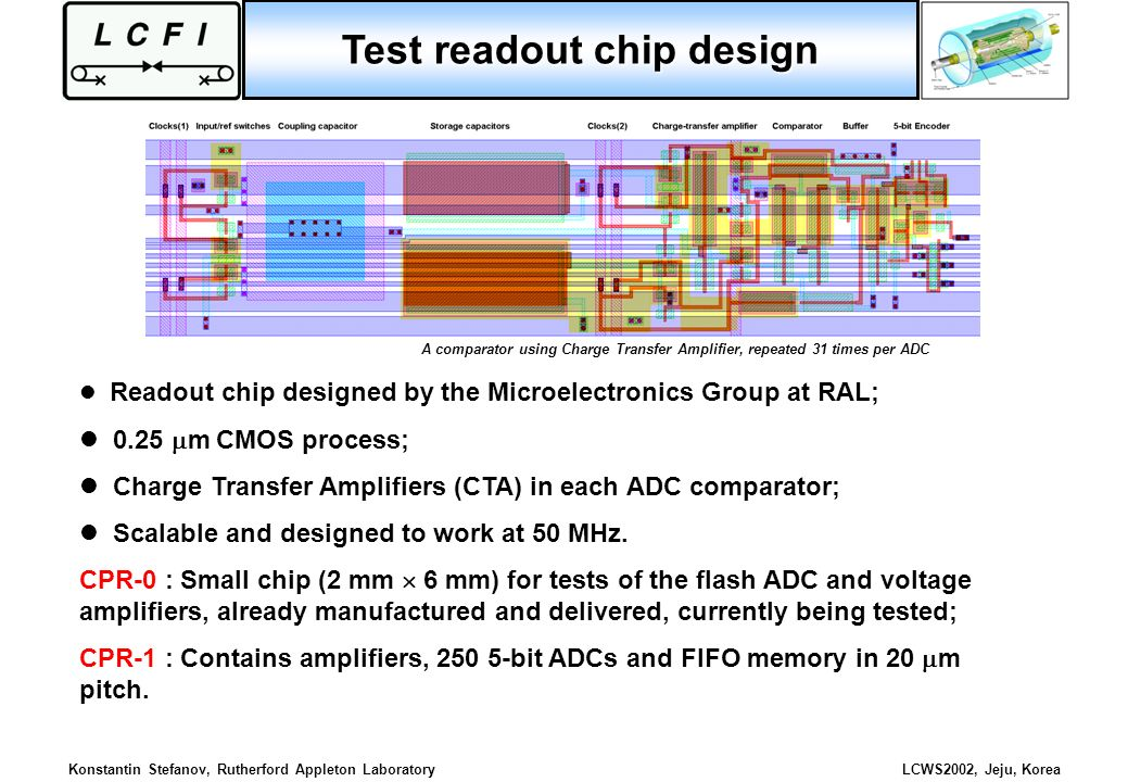 Konstantin Stefanov, Rutherford Appleton LaboratoryLCWS2002, Jeju, Korea Test readout chip design Readout chip designed by the Microelectronics Group
