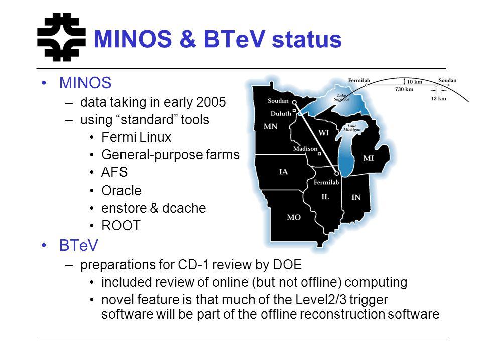 MINOS & BTeV status MINOS –data taking in early 2005 –using standard tools Fermi Linux General-purpose farms AFS Oracle enstore & dcache ROOT BTeV –pr