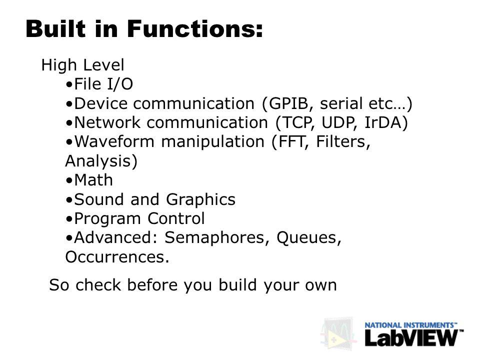 High Level File I/O Device communication (GPIB, serial etc…) Network communication (TCP, UDP, IrDA) Waveform manipulation (FFT, Filters, Analysis) Mat