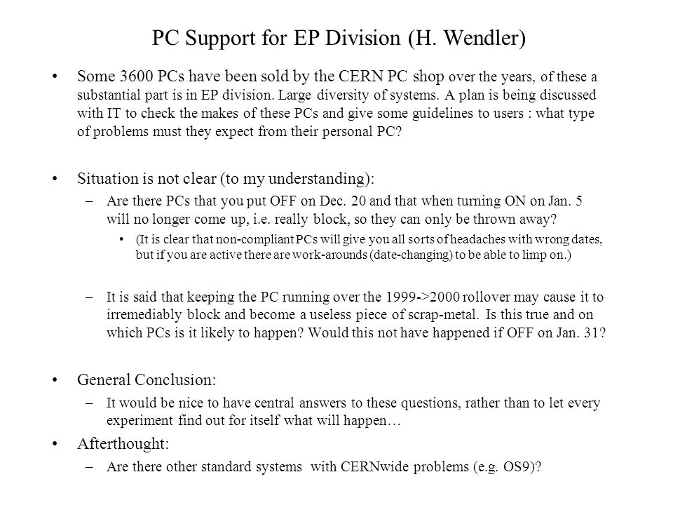PC Support for EP Division (H.