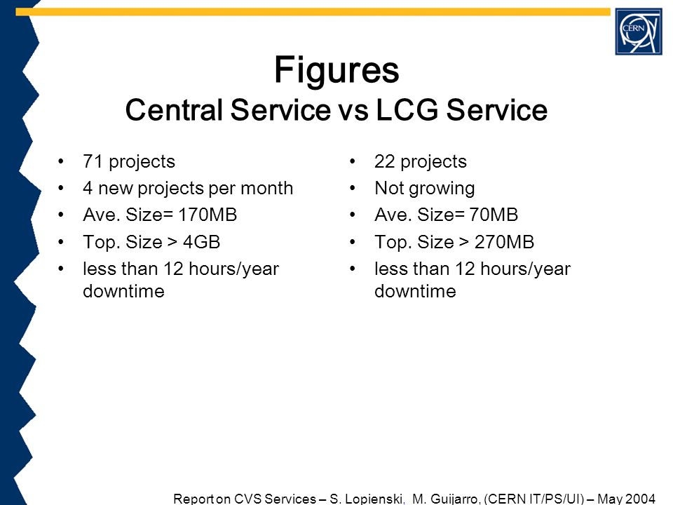 Figures Central Service vs LCG Service 71 projects 4 new projects per month Ave.