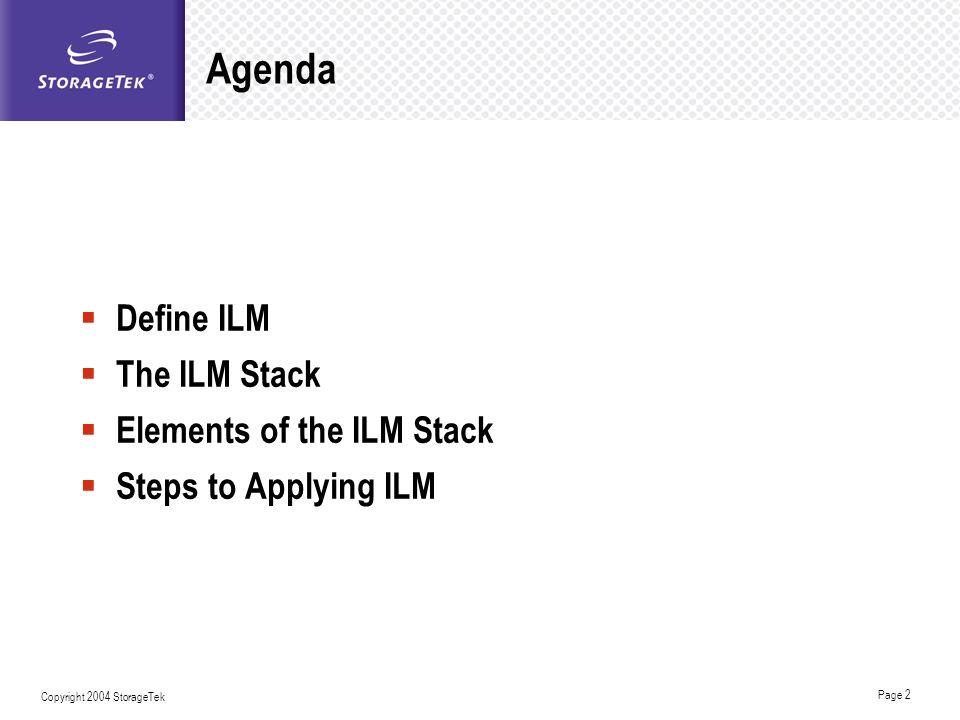 Page 2 Copyright 2004 StorageTek Agenda Define ILM The ILM Stack Elements of the ILM Stack Steps to Applying ILM