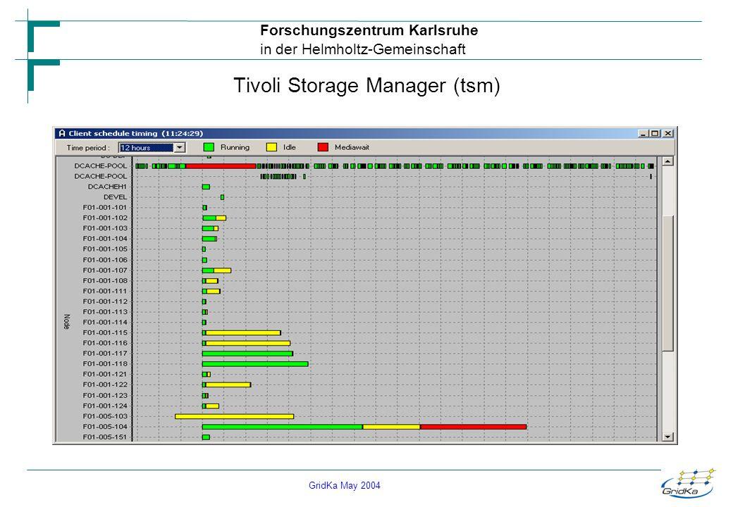 GridKa May 2004 Forschungszentrum Karlsruhe in der Helmholtz-Gemeinschaft Tivoli Storage Manager (tsm)