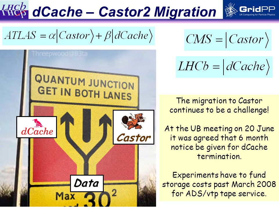11 dCache – Castor2 Migration Castor Data The migration to Castor continues to be a challenge.