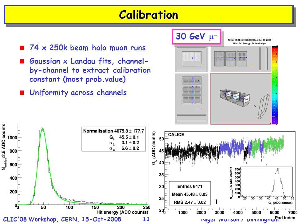 Nigel Watson / BirminghamCLIC'08 Workshop, CERN, 15-Oct-200811 CalibrationCalibration 74 x 250k beam halo muon runs Gaussian x Landau fits, channel- b