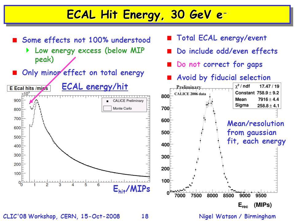 Nigel Watson / BirminghamCLIC'08 Workshop, CERN, 15-Oct-200818 ECAL Hit Energy, 30 GeV e - Hit energy ECAL energy/hit E hit /MIPs Mean/resolution from