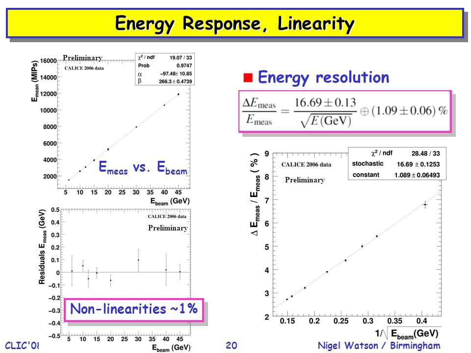 Nigel Watson / BirminghamCLIC'08 Workshop, CERN, 15-Oct-200820 Energy Response, Linearity Energy resolution E meas vs. E beam Non-linearities ~1% Prel