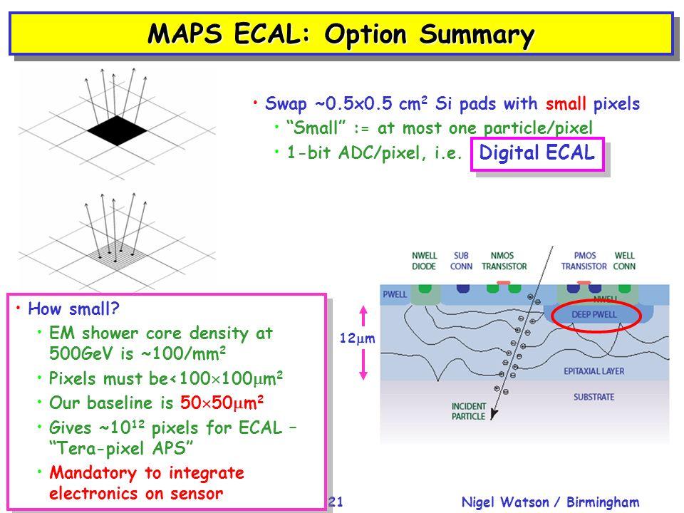 Nigel Watson / BirminghamCLIC'08 Workshop, CERN, 15-Oct-200821 MAPS ECAL: Option Summary How small? EM shower core density at 500GeV is ~100/mm 2 Pixe