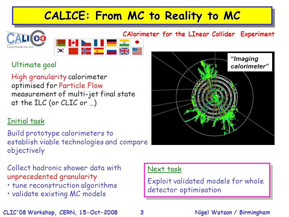 Nigel Watson / BirminghamCLIC'08 Workshop, CERN, 15-Oct-20083 CALICE: From MC to Reality to MC Initial task Build prototype calorimeters to establish