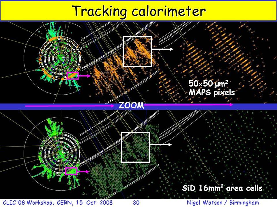 Nigel Watson / BirminghamCLIC'08 Workshop, CERN, 15-Oct-200830 SiD 16mm 2 area cells ZOOM 50 50 μm 2 MAPS pixels Tracking calorimeter