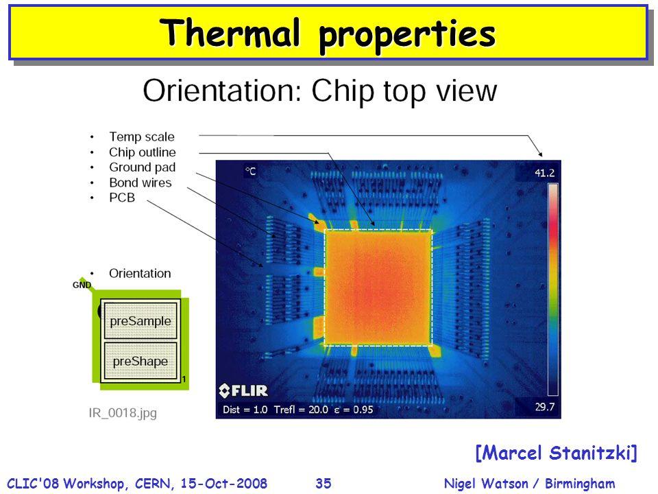 Nigel Watson / BirminghamCLIC'08 Workshop, CERN, 15-Oct-200835 [Marcel Stanitzki] Thermal properties