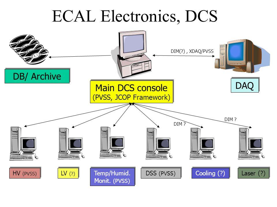 ECAL Electronics, DCS Main DCS console (PVSS, JCOP Framework) Main DCS console (PVSS, JCOP Framework) HV (PVSS) LV (?) DSS (PVSS) Cooling (?) Laser (?