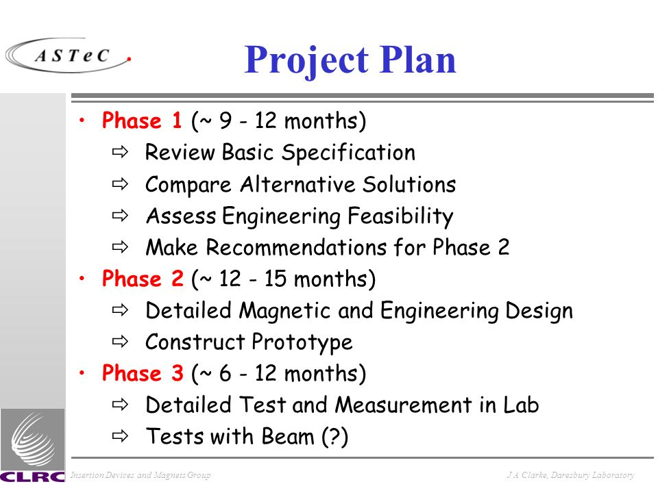 Insertion Devices and Magnets GroupJ A Clarke, Daresbury Laboratory Project Plan Phase 1 (~ 9 - 12 months) ðReview Basic Specification ðCompare Altern