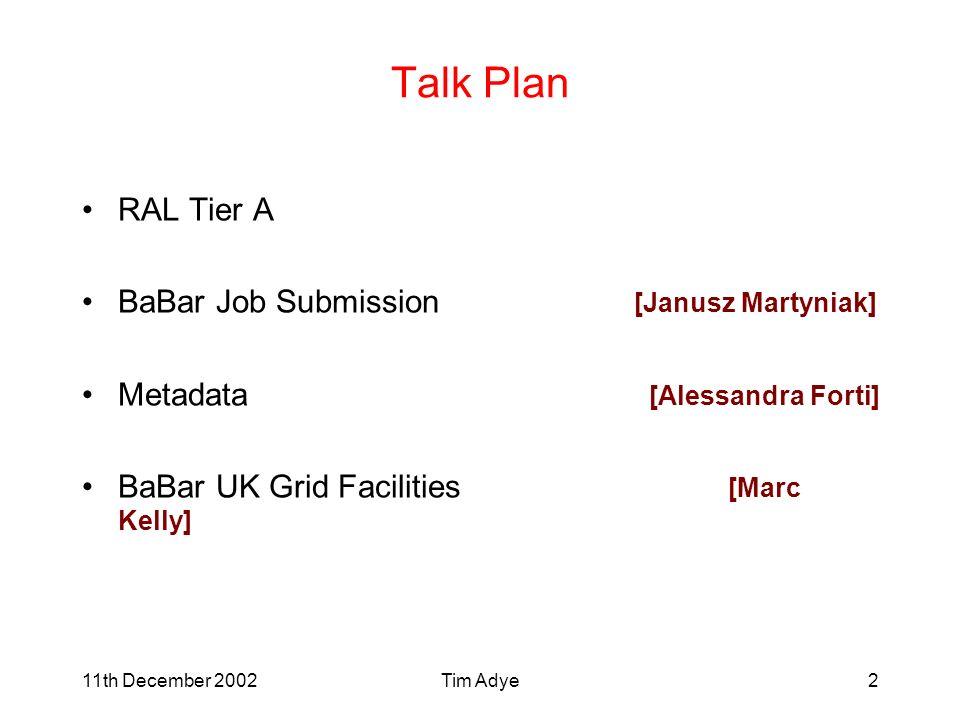 Tim Adye2 Talk Plan RAL Tier A BaBar Job Submission [Janusz Martyniak] Metadata [Alessandra Forti] BaBar UK Grid Facilities [Marc Kelly]