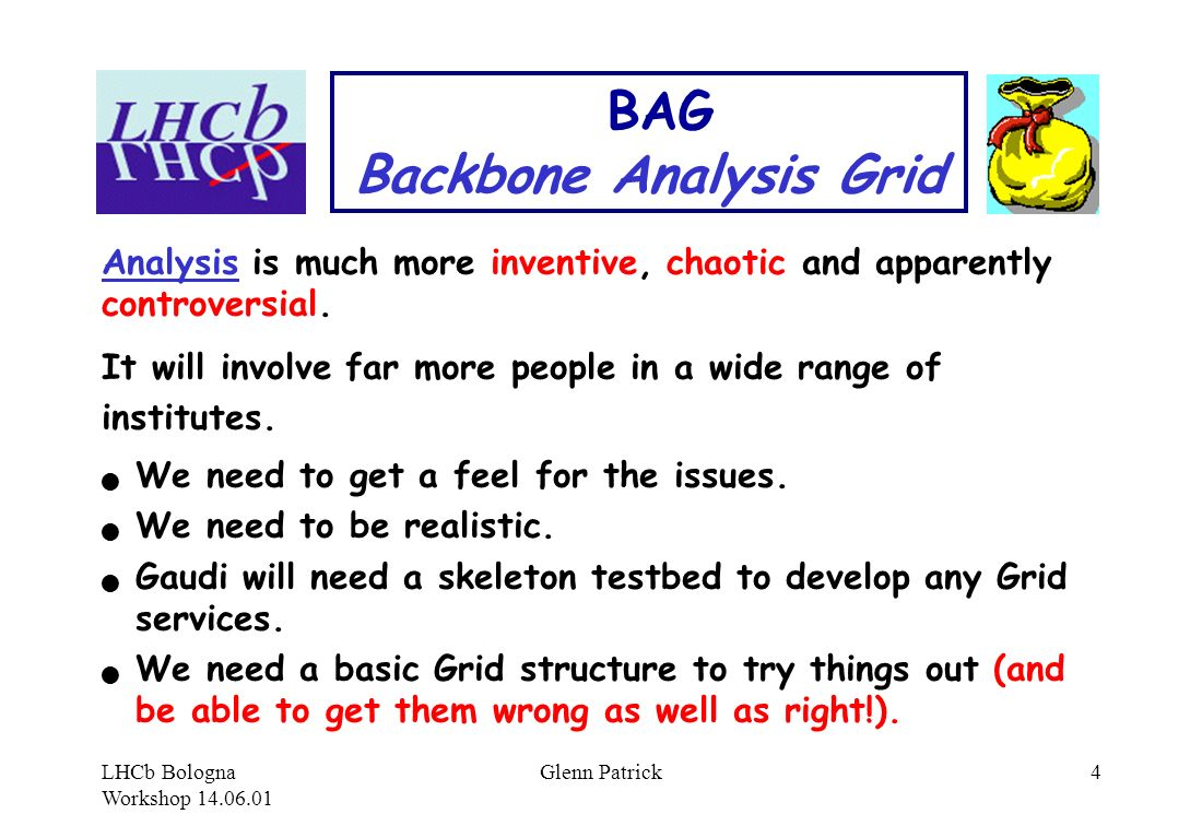 LHCb Bologna Workshop 14.06.01 Glenn Patrick4 BAG Backbone Analysis Grid Analysis is much more inventive, chaotic and apparently controversial.