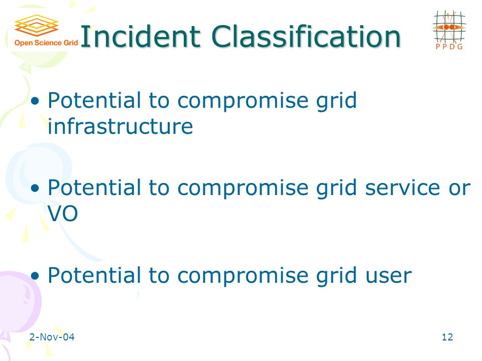 2-Nov-0412 Incident Classification Potential to compromise grid infrastructure Potential to compromise grid service or VO Potential to compromise grid user