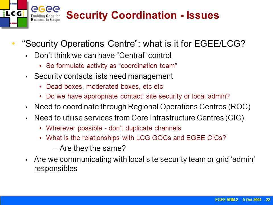 EGEE ARM-2 – 5 Oct 2004 - 22 Security Coordination - Issues Security Operations Centre: what is it for EGEE/LCG.