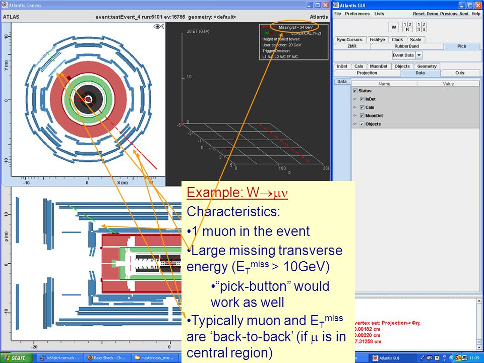 Masterclass 200818 Example: W Characteristics: 1 muon in the event Example: W Characteristics: 1 muon in the event Large missing transverse energy (E