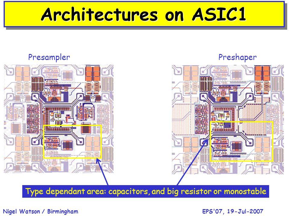 EPS'07, 19-Jul-2007Nigel Watson / Birmingham Architectures on ASIC1 PresamplerPreshaper Type dependant area: capacitors, and big resistor or monostabl