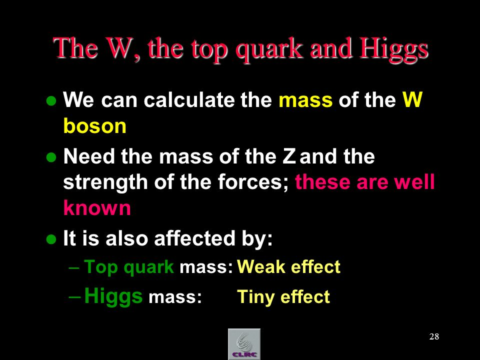28 The W, the top quark and Higgs We can calculate the mass of the W boson Need the mass of the Z and the strength of the forces; these are well known It is also affected by: –Top quark mass:Weak effect –Higgs mass: Tiny effect