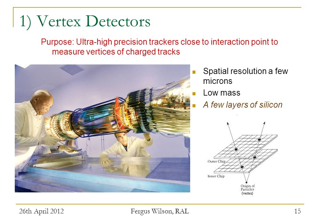 26th April 2012 Fergus Wilson, RAL 15 1) Vertex Detectors Spatial resolution a few microns Low mass A few layers of silicon Purpose: Ultra-high precis