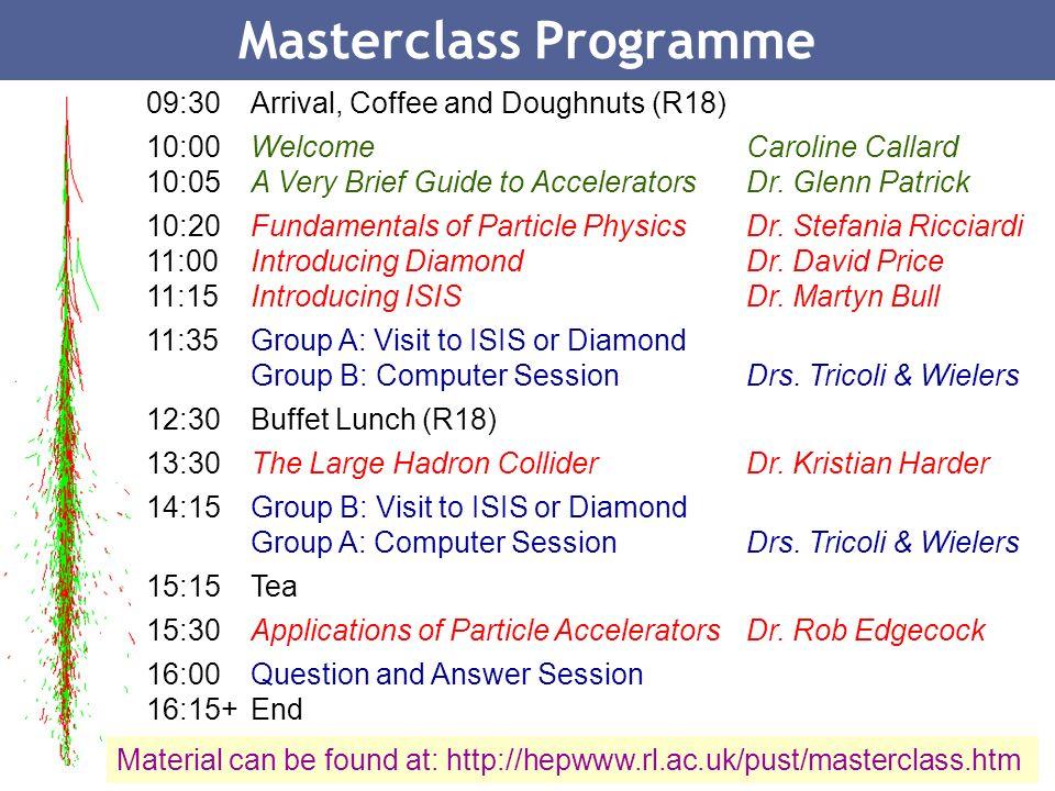 22 Masterclass Programme 09:30Arrival, Coffee and Doughnuts (R18) 10:00WelcomeCaroline Callard 10:05A Very Brief Guide to AcceleratorsDr. Glenn Patric