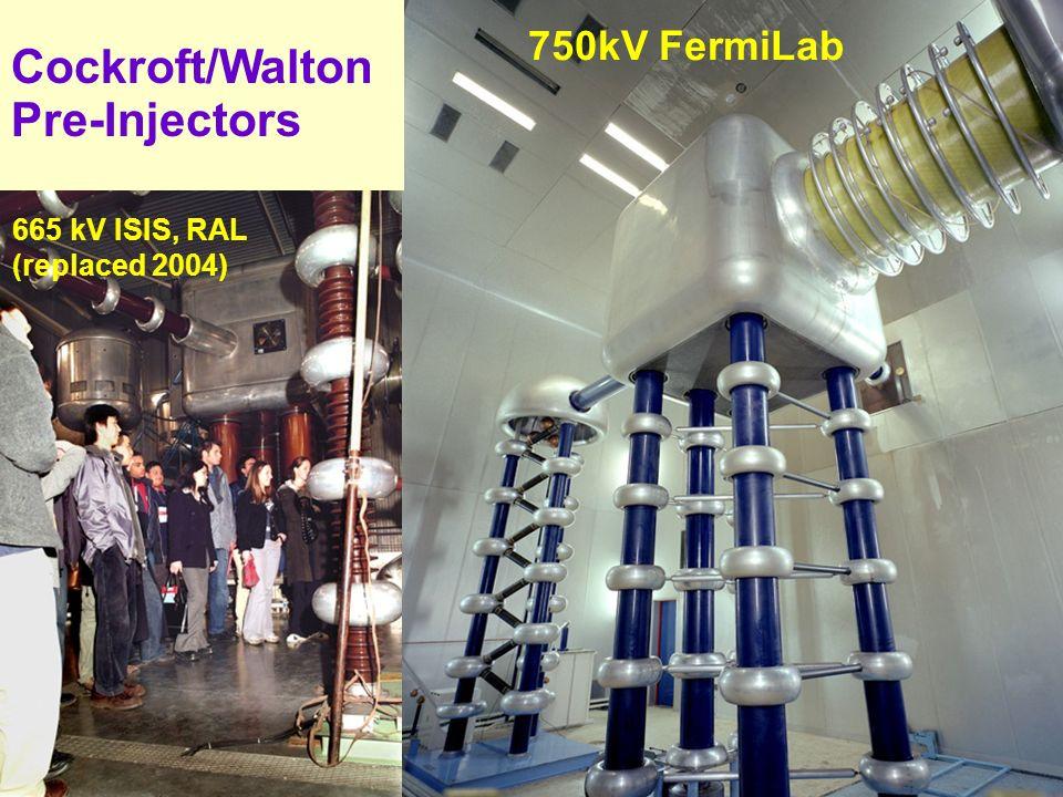 9 9 Cockroft/Walton Pre-Injectors 750kV FermiLab 665 kV ISIS, RAL (replaced 2004)