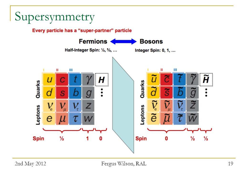 Supersymmetry 2nd May 2012 Fergus Wilson, RAL 19